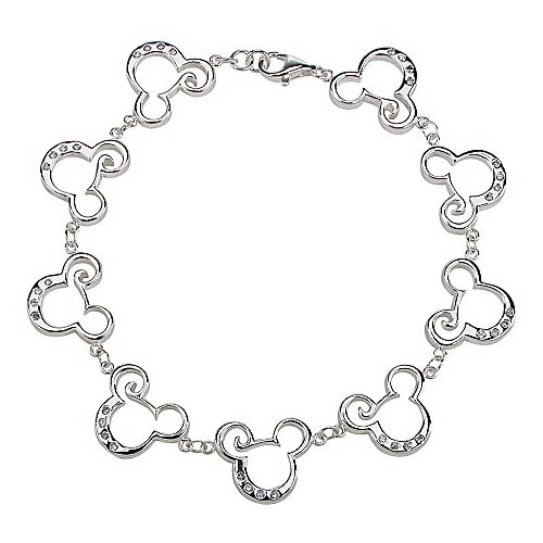 Mickey Mouse Charm Bracelet: Sterling Silver CZ Curl Mickey Mouse