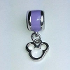Disney Bead for Bracelet - Silver Metal Icon Dangle - Purple