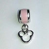 Disney Bead for Bracelet - Silver Metal Icon Dangle - Pastel Pink