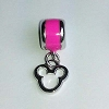 Disney Bead for Bracelet - Silver Metal Icon Dangle - Pink