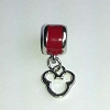 Disney Bead for Bracelet - Silver Metal Icon Dangle - Red