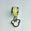 Disney Bead for Bracelet - Silver Metal Icon Dangle - Yellow
