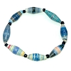 Disney EPCOT Recycled Paper Bracelet - Blue and Grey - Long Fat Beads