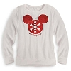 Disney LADIES Shirt - Holiday Mickey Mouse Snowflake Icon Long Sleeve