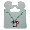 Disney Santa Mickey Necklace - Mickey Icon Red Jewel Silver