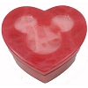 Disney Trinket Box - Handcarved Alabaster Heart w/ Mickey Icon - Light Red