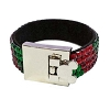 Disney Bracelet - Red and Green Jeweled Band with Mickey Icon Buckle