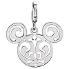 Disney Charm - Sterling Silver Mickey Mouse Filigree Icon Charm