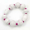 Disney EPCOT Recycled Paper Bracelet - White with Pink Beads