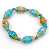Disney EPCOT Recycled Paper Bracelet - Blue & Tan with Teal Beads