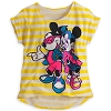 Disney LADIES Shirt - Striped Neon - Mickey and Minnie - Yellow