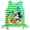 Disney LADIES Shirt - Striped Neon Tank - Mickey and Pluto - Green