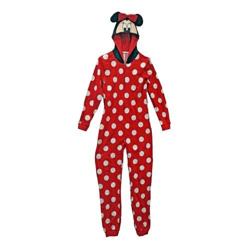 Disney Ladies Onesie Pajamas Minnie Mouse Hooded
