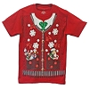 Disney ADULT Shirt - Mickey and Friends Christmas Vest and Tie Tee