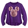 Disney Women's Shirt - Rose Foil Mickey Mouse Icon Blousy Top