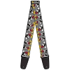 Disney Designer Guitar Strap - Mickey Mouse with Glasses Full Color Grey
