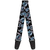 Disney Designer Guitar Strap - Stitch Poses Hibiscus Sketch Black Grey and Blue