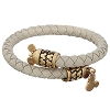 Disney Alex and Ani Charm Bracelet - Leather Wrap Mickey - Cream