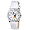 Disney Classic Mickey Watch - Rhinestone Bezel White Leather band