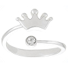 Disney Ring - Adjustable Crown Silver with Crystal Accent