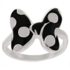 Disney Ring - Enamel Signature Minnie Bow - Black and White