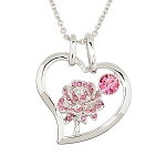Disney Arribas Necklace - Belle Crystal Rose Necklace - Pink