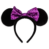Disney Headband Hat - Purple Sequined Bow Minnie Mouse Ears for Kids