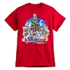 Disney Adult Shirt - Happy Holidays Santa Mickey and Friends - Red