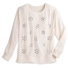 Disney LADIES Long Sleeve Sweater - Jeweled Mickey Icon Snowflakes