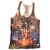Disney Womens Tank Top Shirt - Happily Ever After Fireworks Sublimated