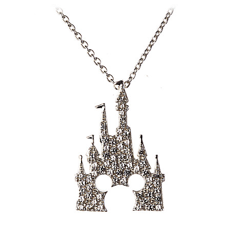 your wdw store disney hook necklace mickey castle silver