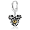 Disney Dangle Charm - Sterling Silver Mickey Mouse Icon Filigree