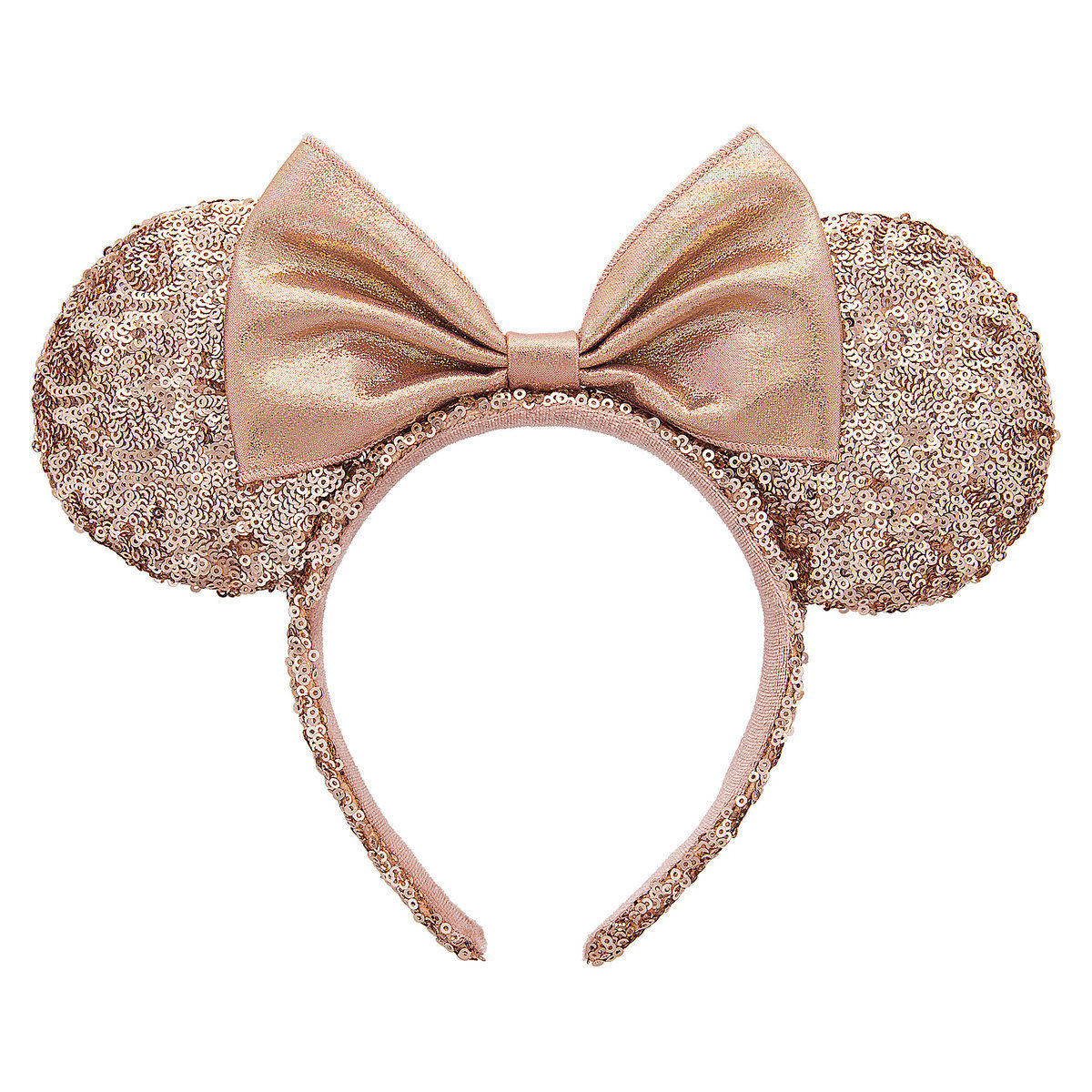 disney ears headband minnie rose gold ears with bow. Black Bedroom Furniture Sets. Home Design Ideas