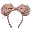 Disney Ears Headband - Rose Gold Sequined with Minnie Bow