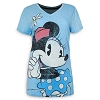 Disney Women's Shirt - Minnie Mouse V-Neck - Blue