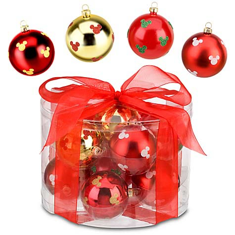 Your WDW Store  Disney Christmas Ornament Set  Shatterproof Red