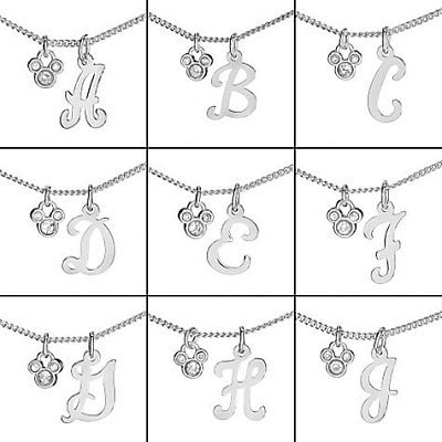 your wdw store disney necklace silver initial crystal With disney letter necklace