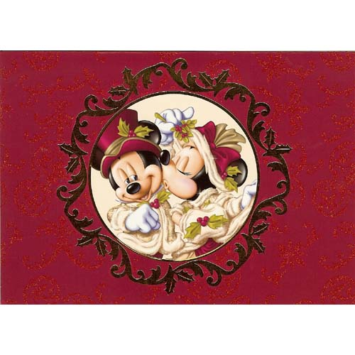 Disney Christmas Cards   Victorian Mickey And Minnie Mouse