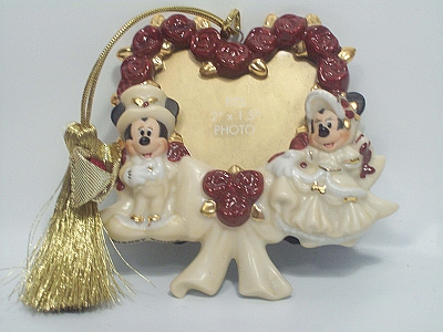 Your WDW Store Disney Photo Frame Ornament Mickey Minnie Victorian Wedding