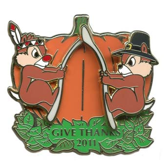 Disney Thanksgiving Pin 2011 Chip N Dale With Wishbone