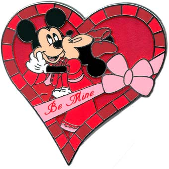 disney valentines day pin mickey and minnie mouse be mine heart