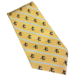Disney Silk Tie - Mickey Mouse Silhouettes - Gold with Stripes