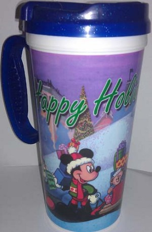 Disney Thermal Travel Mug Cup - Happy Holidays Mickey Duffy Goofy