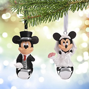 Your WDW Store Disney Christmas Ornament Set Wedding Mickey Minnie