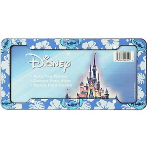 disney license plate frame lilo stitch stitch with hibiscus flowers