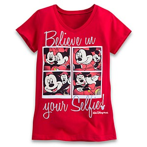 Disney Child Shirt - Mickey and Minnie Selfie Tee for Girls