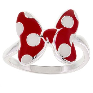 Disney Ring - Enamel Signature Minnie Bow - Red and White