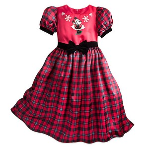 Disney Girls Holiday Dress - Festive Minnie Mouse Holiday Party Dress