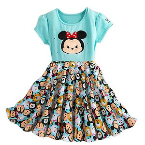 "Disney Girls Holiday Dress - ""Tsum Tsum"" Minnie Mouse and Friends"