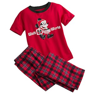 Disney Child Pajama Set - Short Sleeve - Santa Mickey Mouse